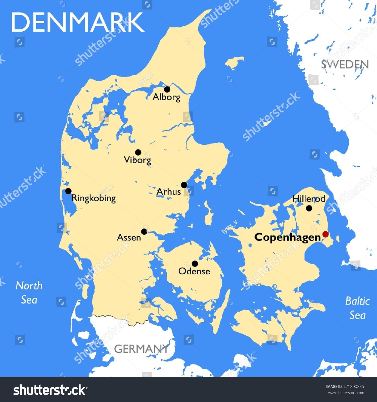 Denmark Map Vector Detailed Color Denmark Stock Vector HD Royalty