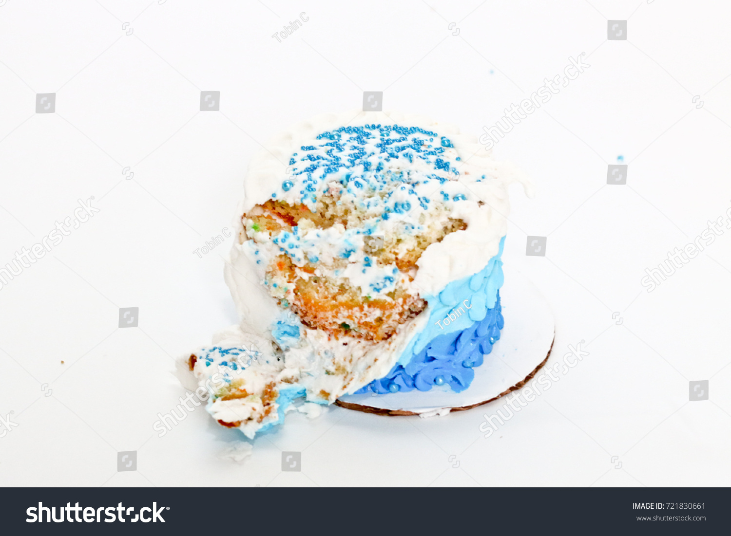Outstanding Smashed Birthday Cake Background Stock Photo Edit Now 721830661 Funny Birthday Cards Online Overcheapnameinfo