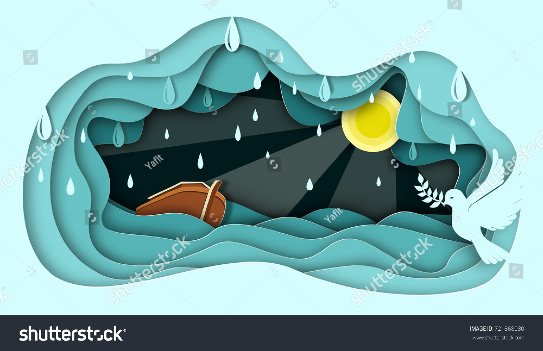 Noah Ark Paper Art Abstract Illustration Stock Illustration 721868080