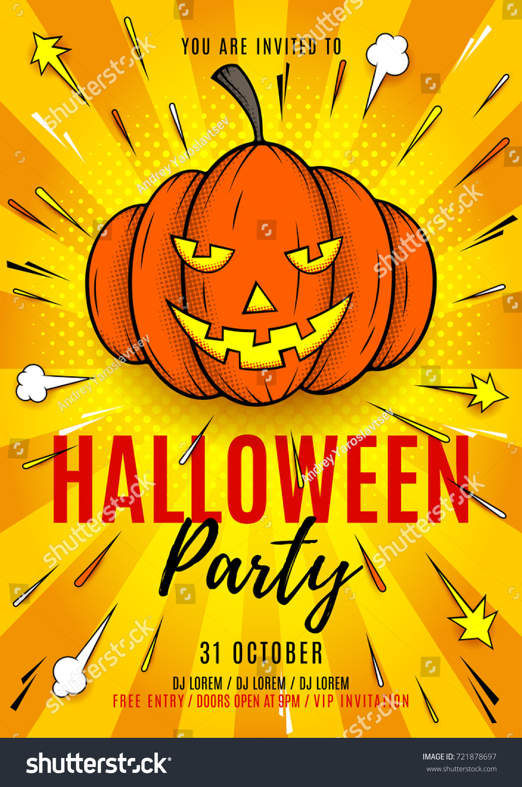 Halloween Party Flyer Template Vector Illustration Stock Vector