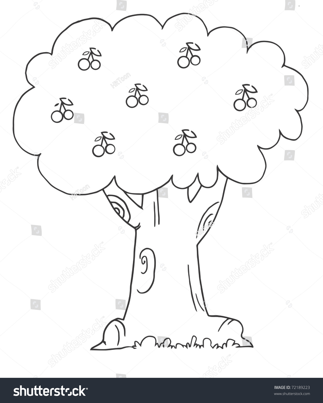 coloring page outline cherry tree stock illustration 72189223