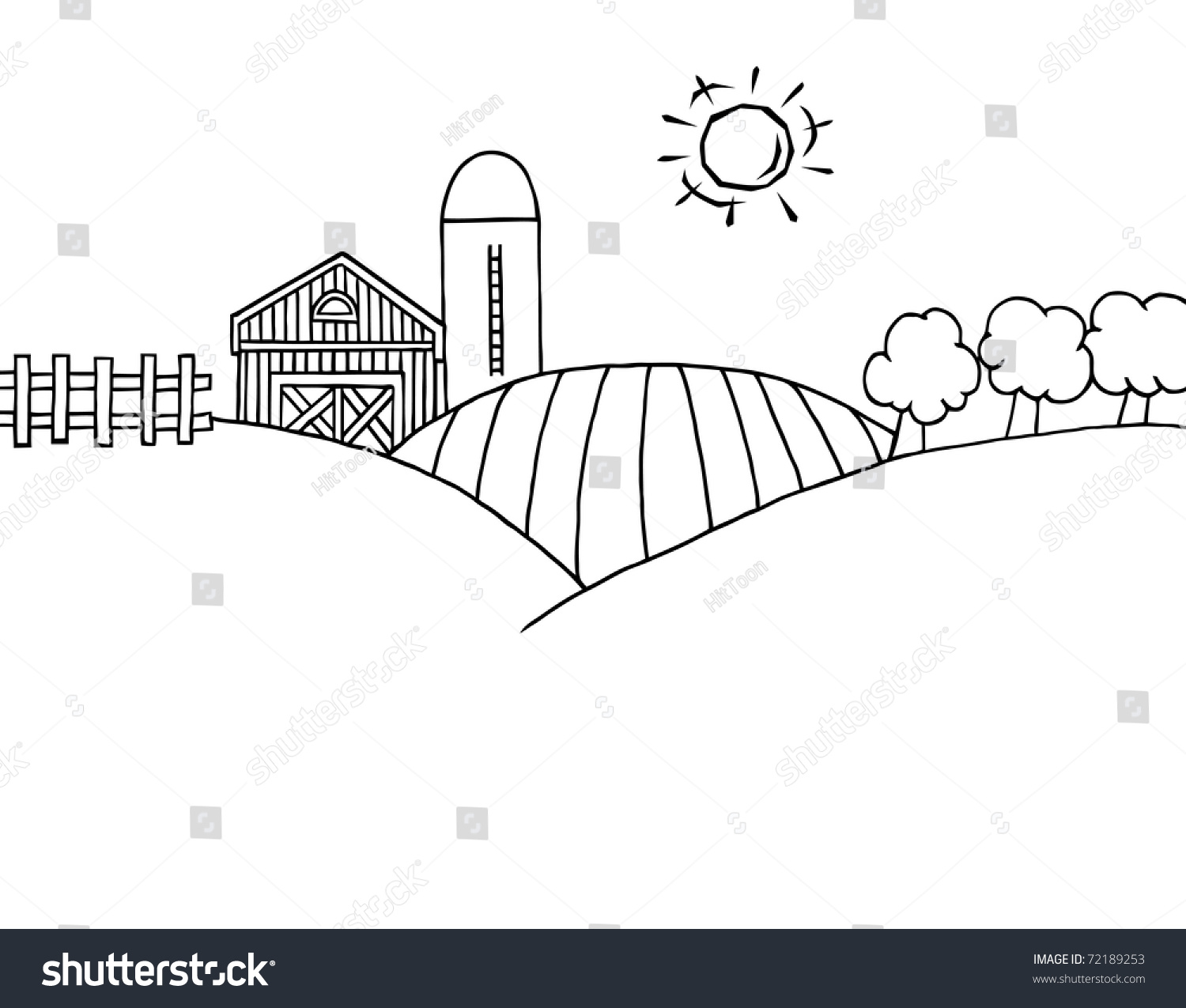 coloring page outline rolling hills farm stock illustration
