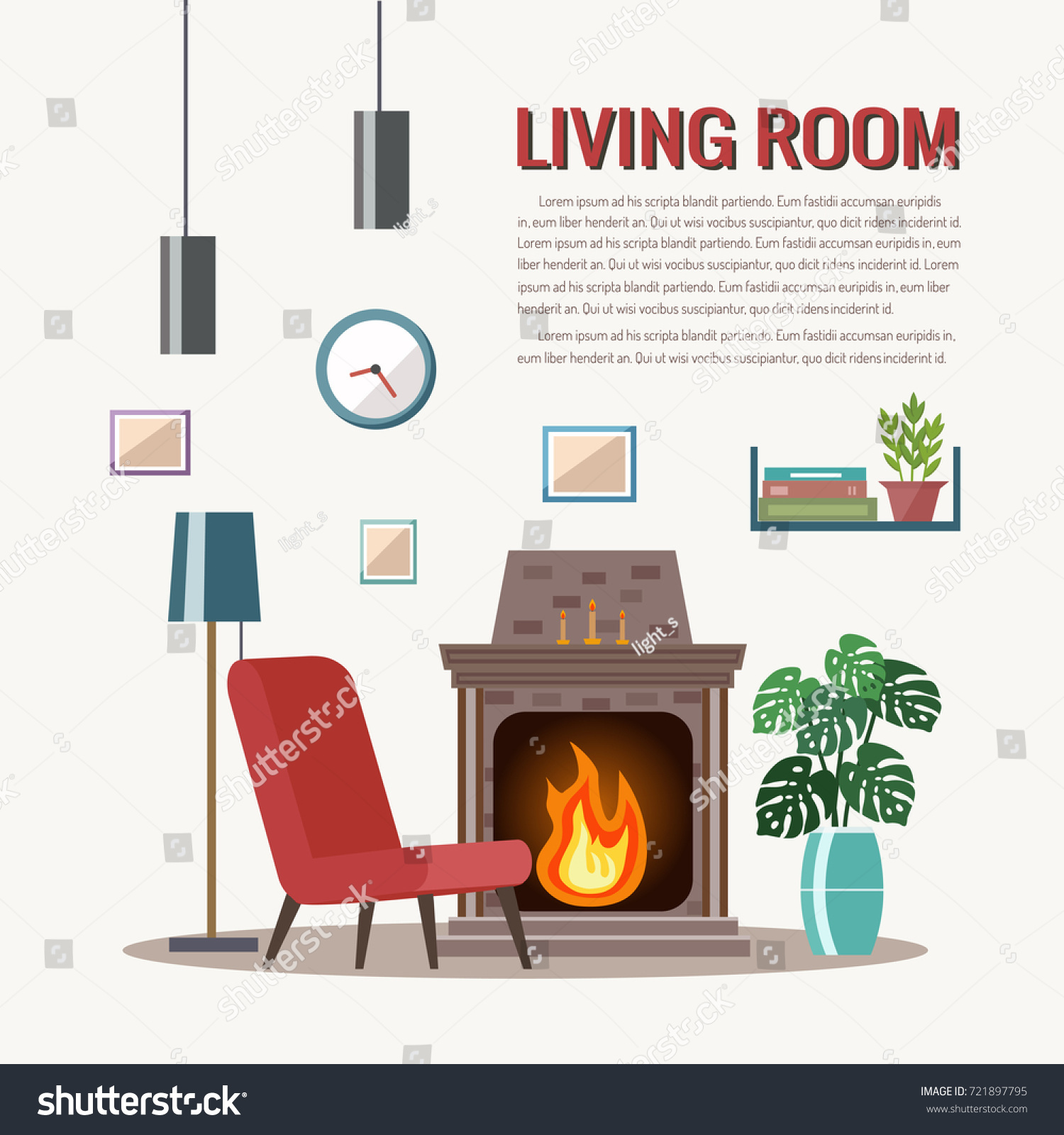Cozy Living Room Interior Furniture Fireplace Stock Vector