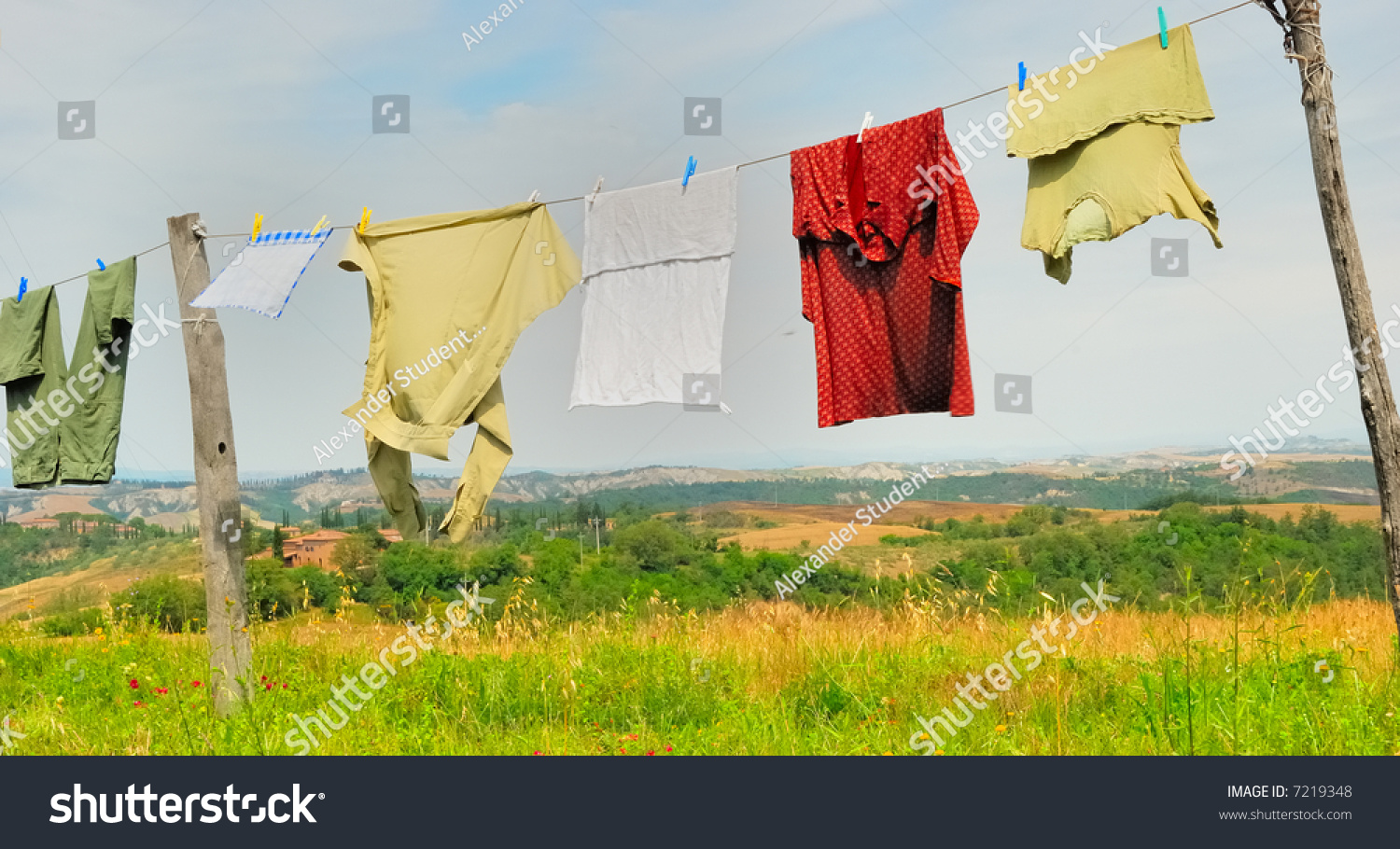 Clothes Drying On A Clothesline ~ Clothes for drying on a clothesline stock photo