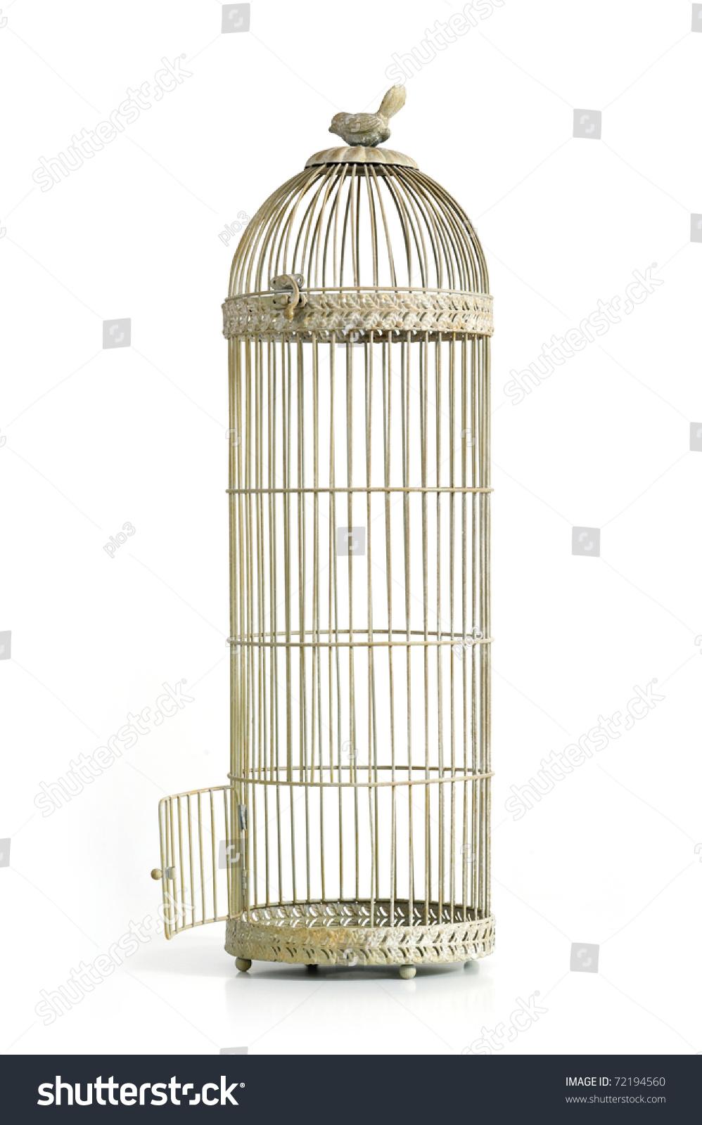 Vintage Bird Cage Open Door Over Stock Photo 72194560