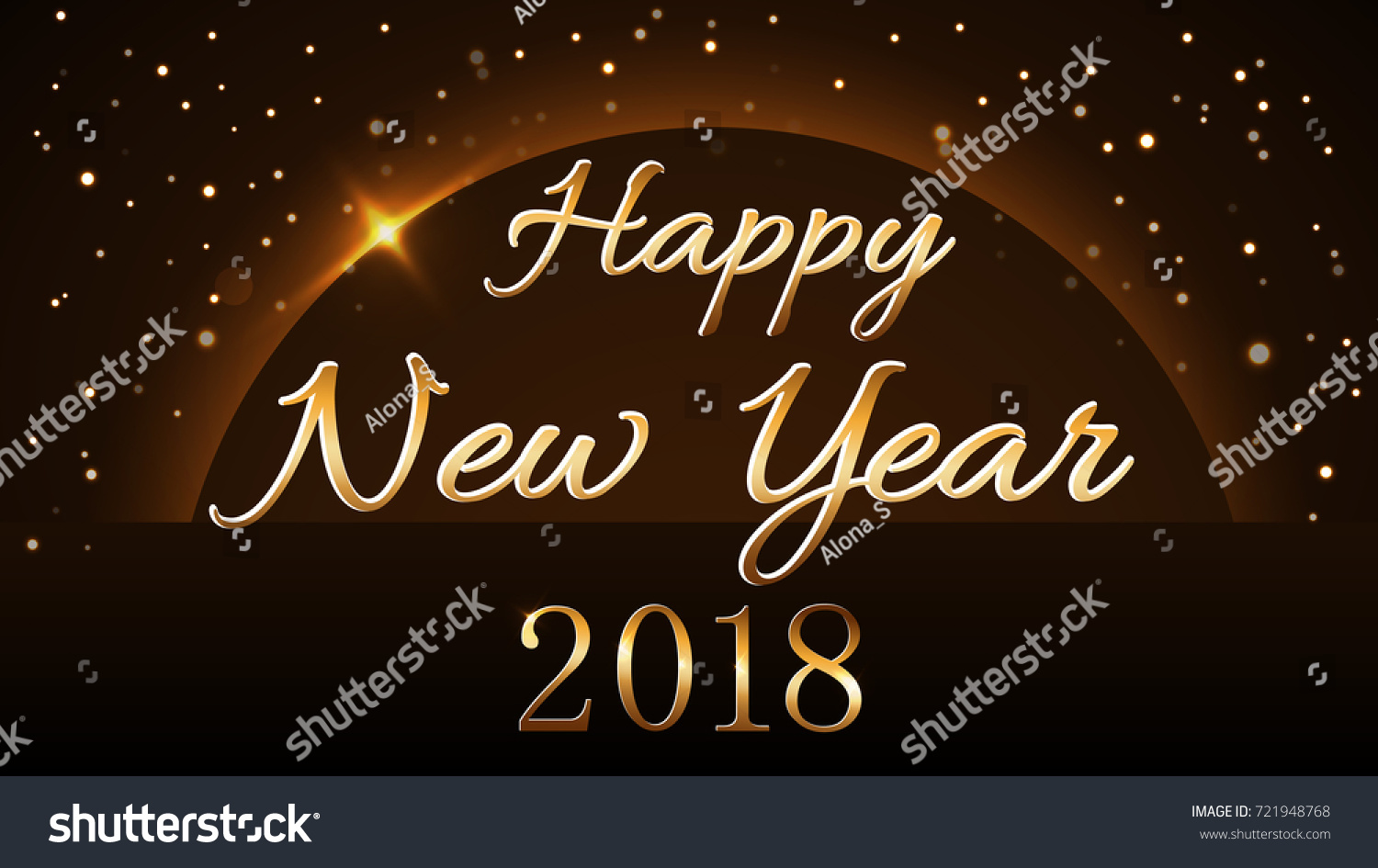 happy new year background with magic gold rain and globe golden numbers 2018 on horizon