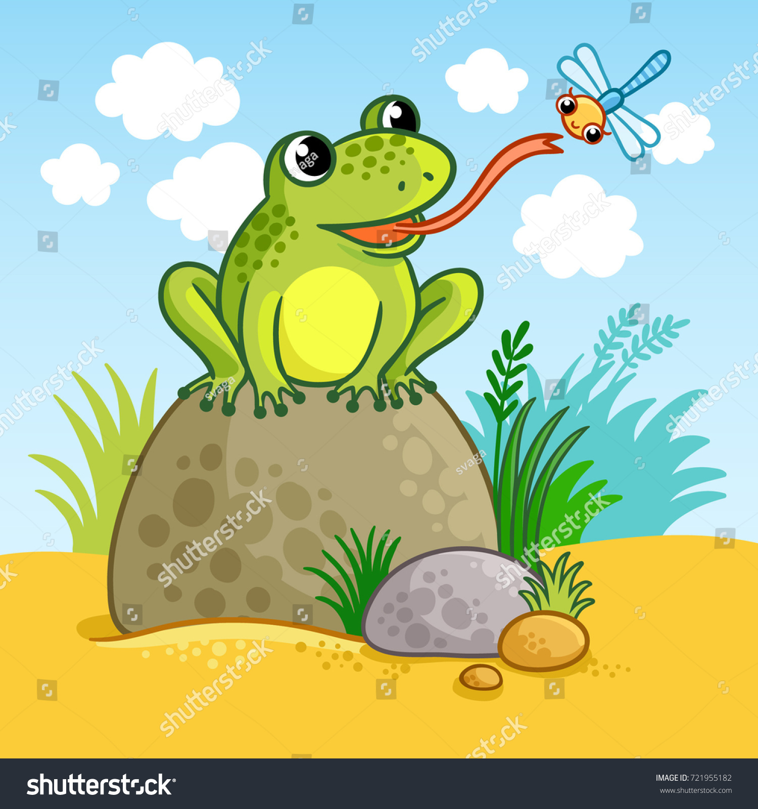 frog sits on large rock catches stock vector 721955182 shutterstock