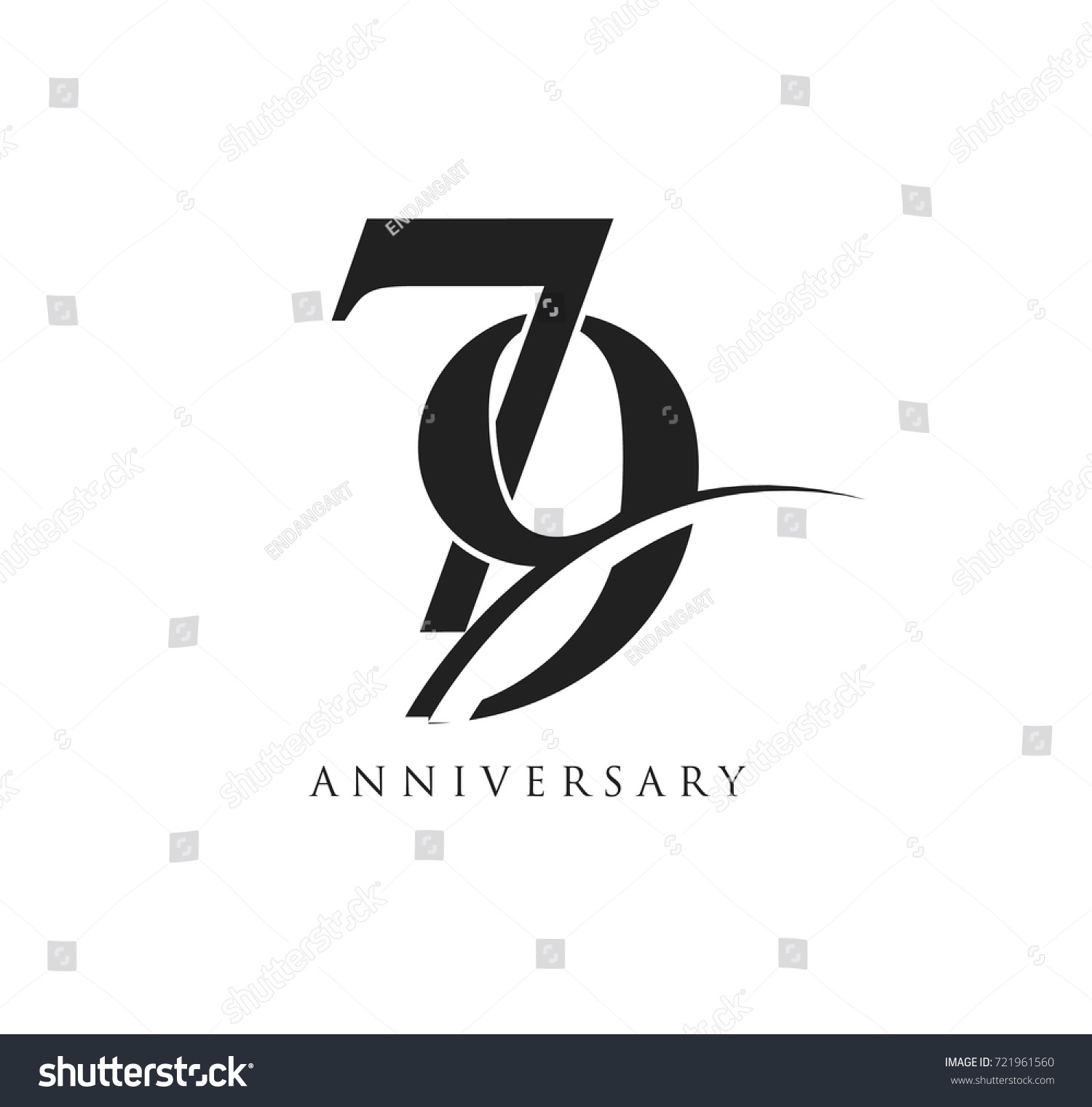 79 years anniversary pictogram vector icon, simple years birthday logo  label, black and white