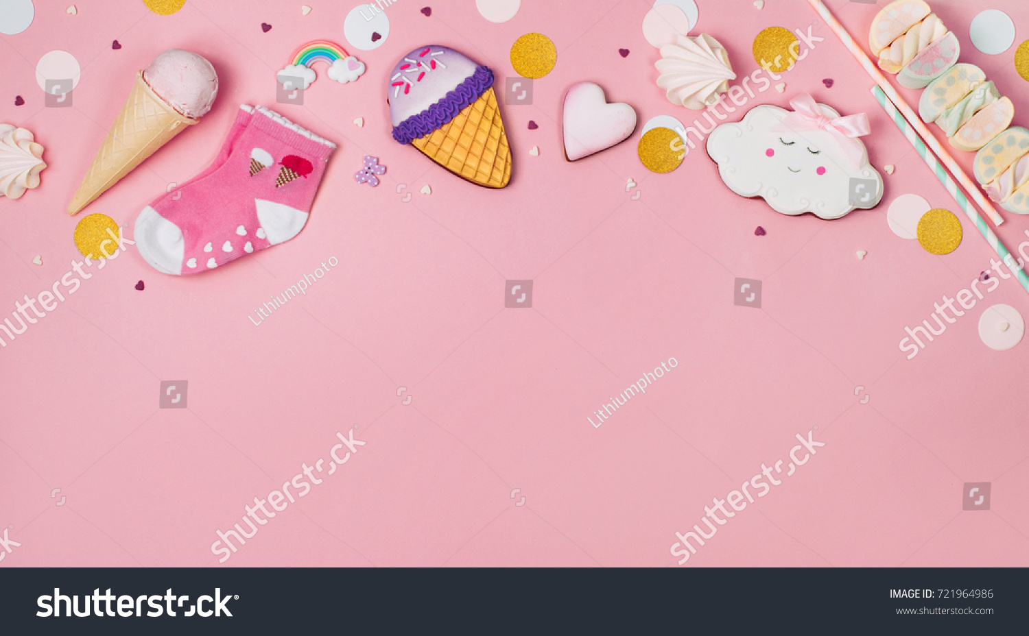 Cute Happy Birthday Party Background Ice Cream Cone Gingerbread And Marshmallows On The Pink