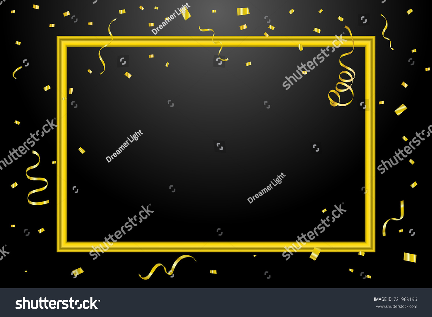 golden confetti and ribbons with border frame on black background celebration happy new year