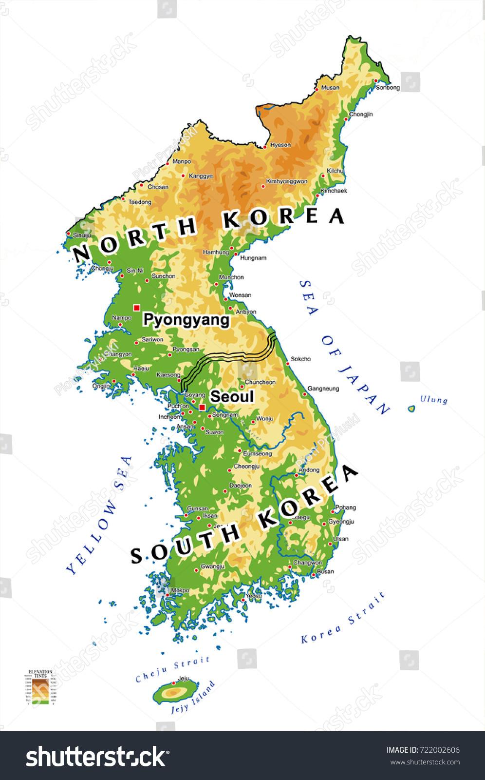 South Korea North Korea Map Stock Vector 722002606 Shutterstock