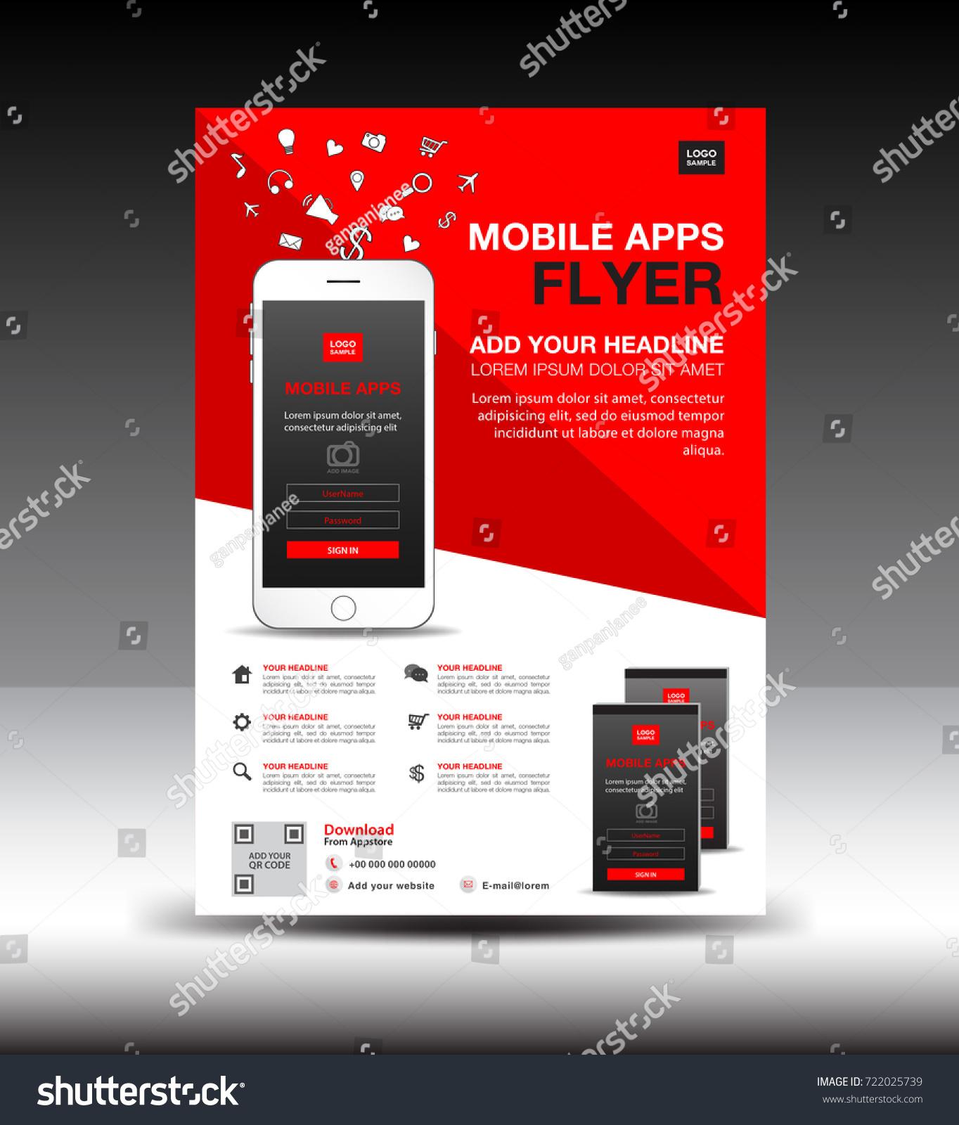 Mobile Apps Flyer Template Business Brochure Stock Vector 722025739 ...