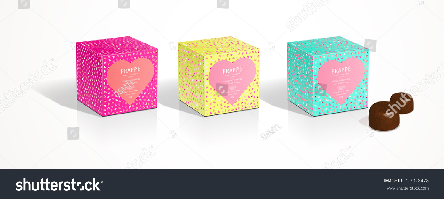 Valentines Day Square Heart Box Packaging Stock Vector Royalty Free