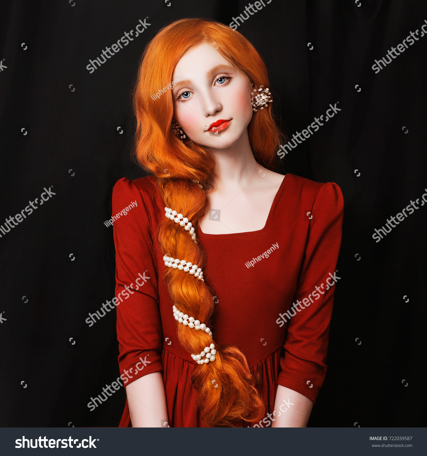Cute Redhaired Girl Scythe Red Dress Stock Photo (Edit Now) 12