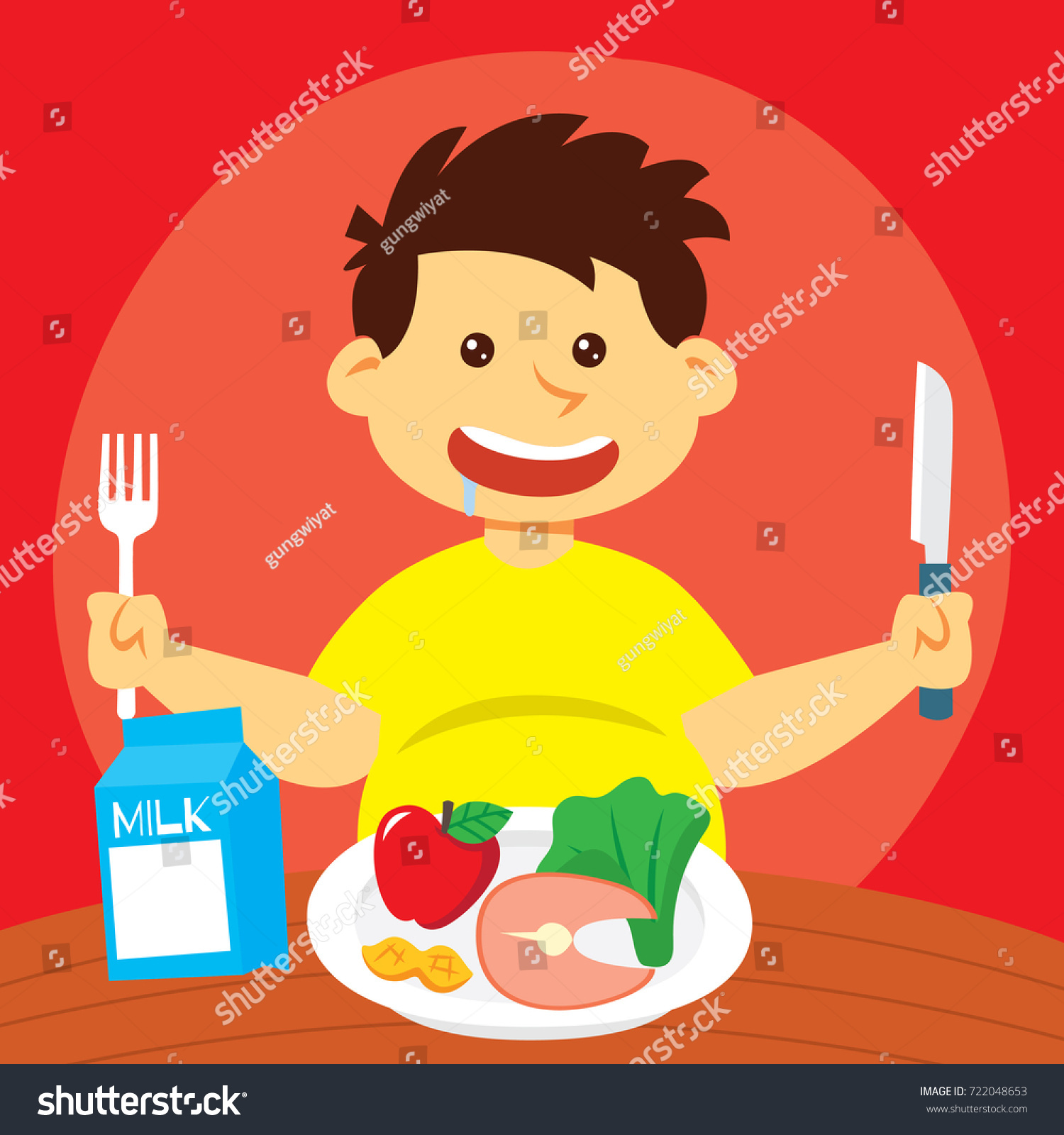 Eating Healthy Food Campaign Series Kid Stock Vector Royalty Free 722048653