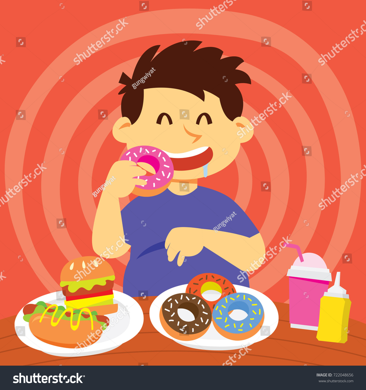 Eating Healthy Food Campaign Series Kid Stock Vector (Royalty Free