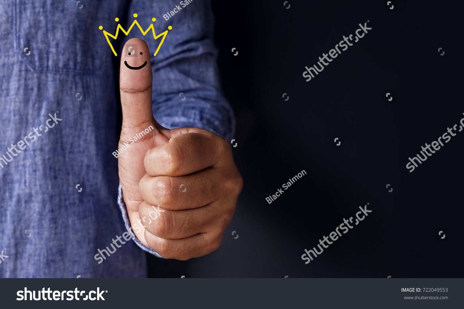 Customer Experience Concept, Best Excellent Services Rating for Satisfaction present by Thumb of Client with Crown and Smiley Face icon #722049553