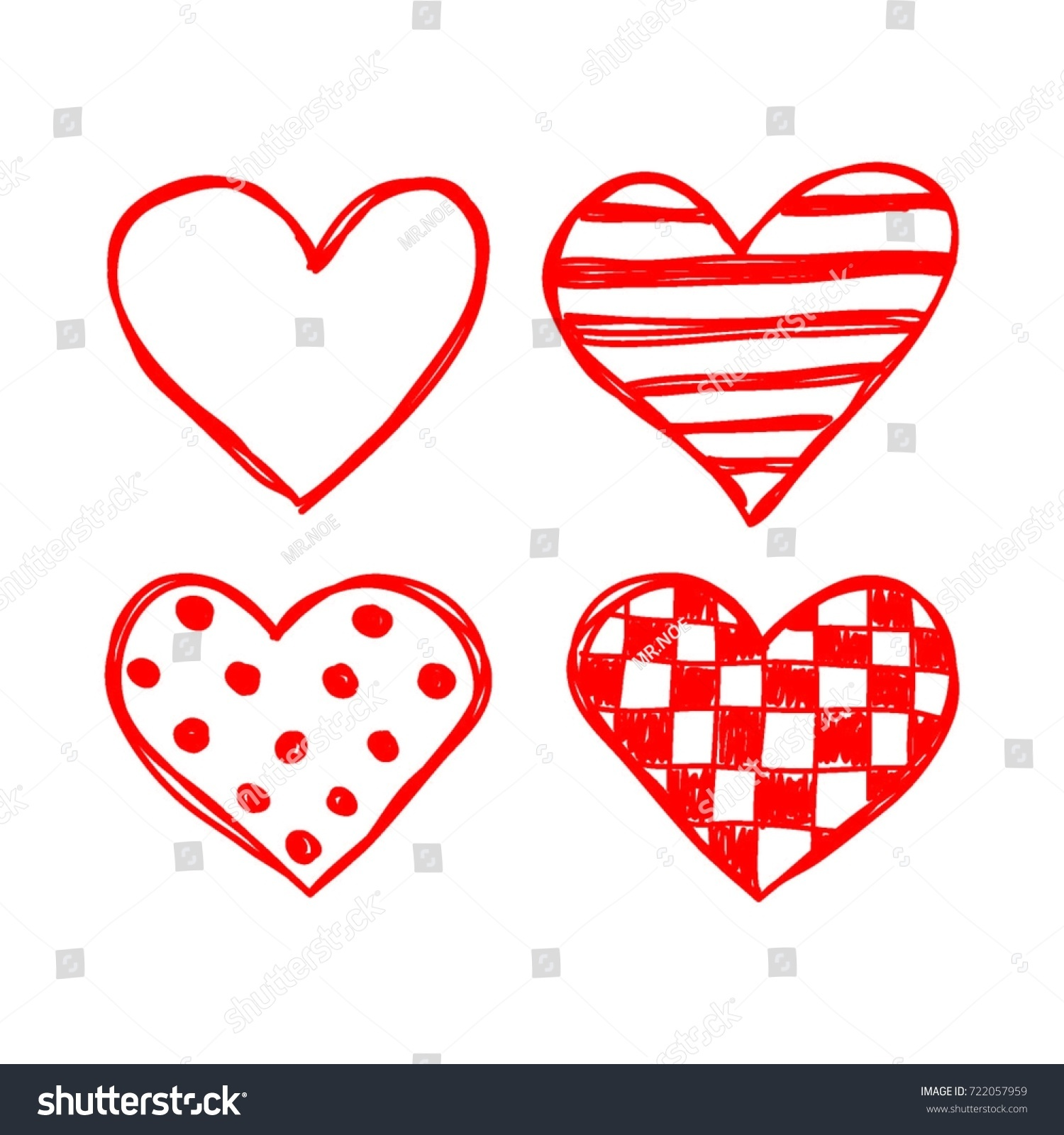 heart sketches vector stock vector (2018) 722057959 - shutterstock