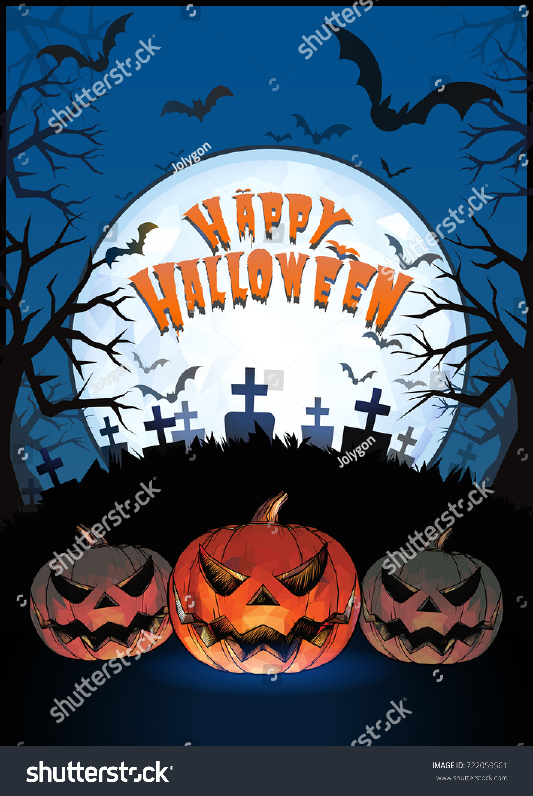 Jack O Lantern Glowing At Foreground With Cartoony Style In The