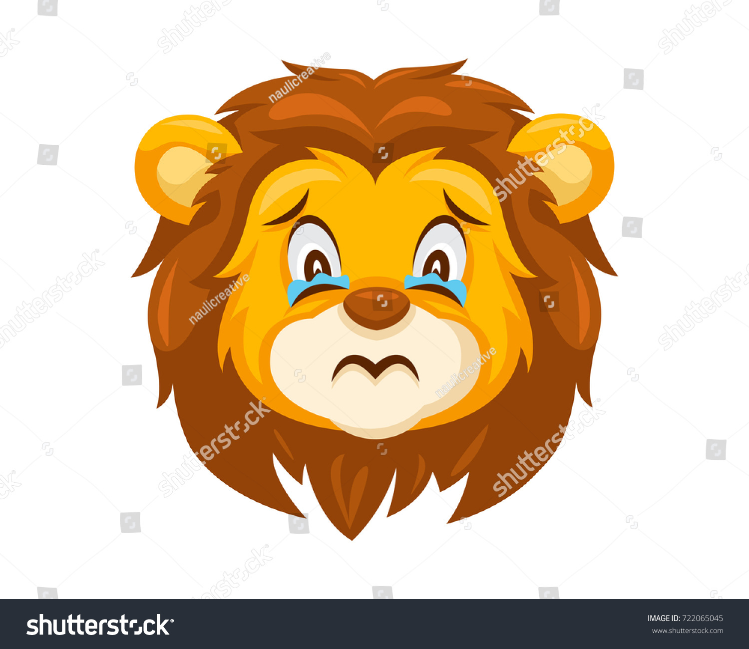 Cute Lion Face Emoticon Emoji Expression Stock Vector ...