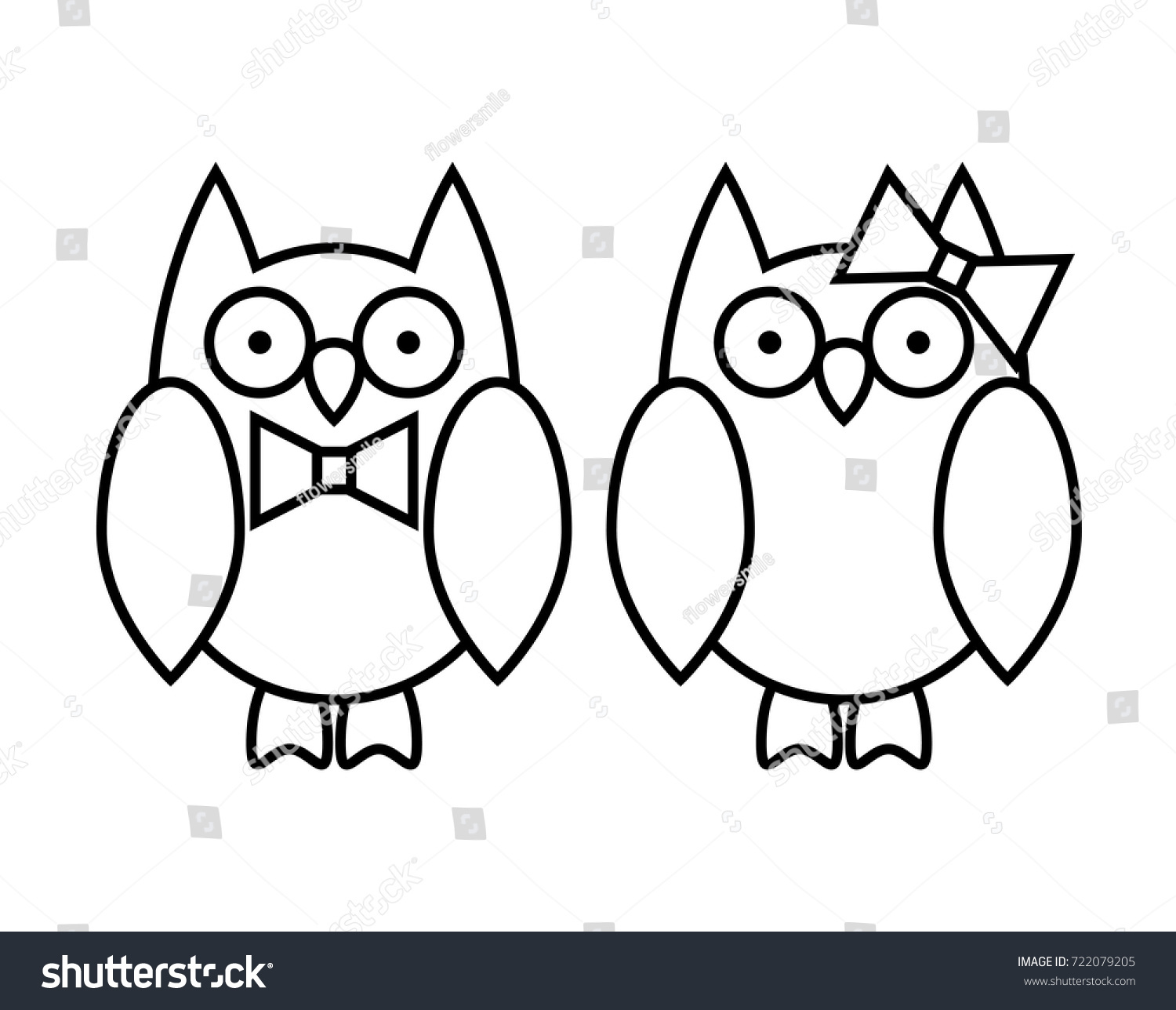 Coloring Pages Cute Cartoon Owl Couple Stock Vector (Royalty Free ...