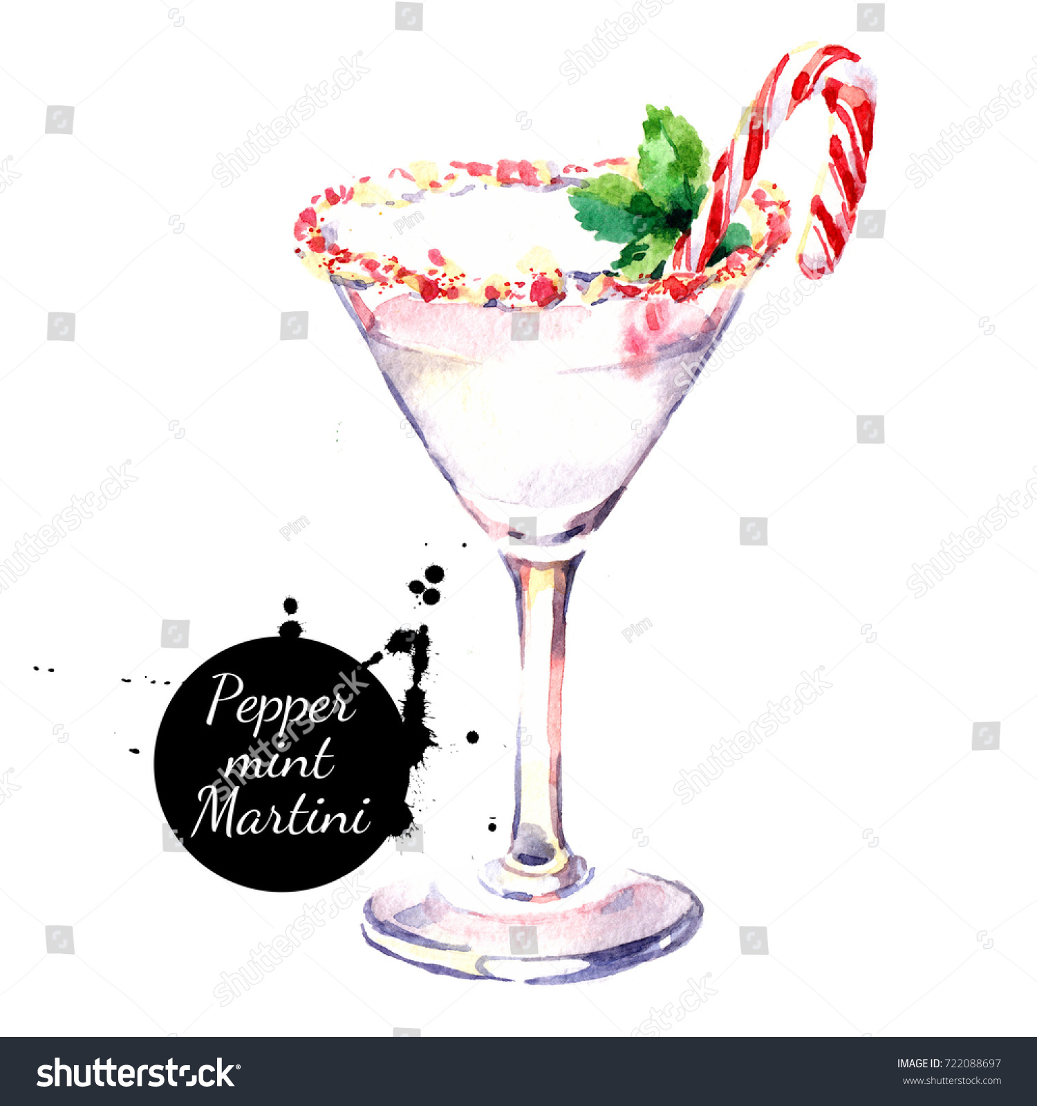 watercolor hand drawn sketch christmas cocktail peppermint martini isolated illustration on white background - White Christmas Martini
