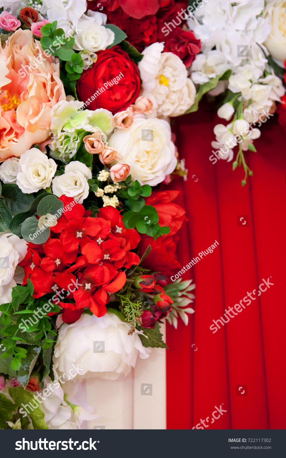 Decorations Flowers Colors Red White Pink Stock Photo 722117302 ...