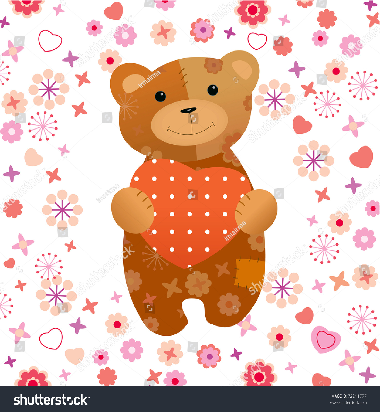 Teddy bear with heart and flowers