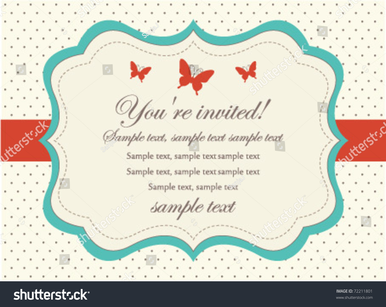 Retro Invitation Card Stock Vector 72211801 - Shutterstock