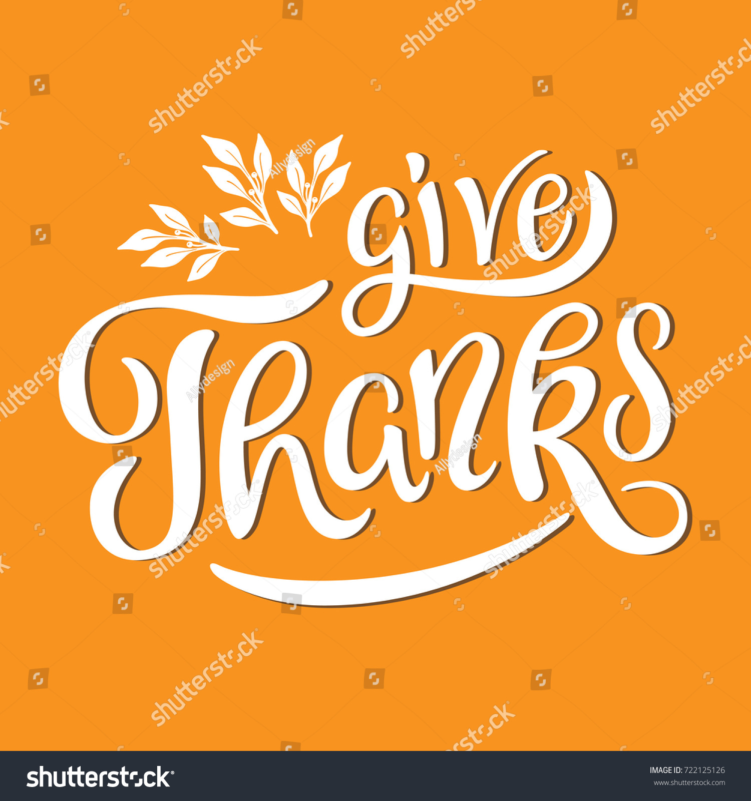 Give Thanks Lettering Leaves Card Template Stock Vector Royalty
