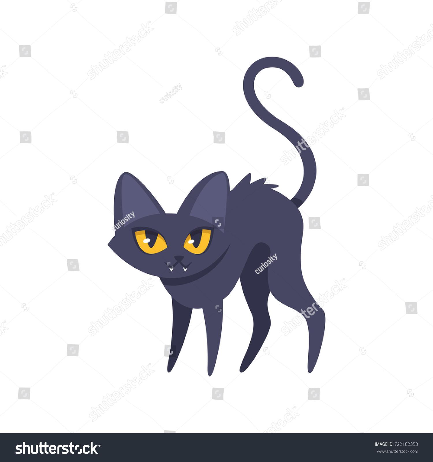 vector cartoon illustration of halloween cat isolated on white