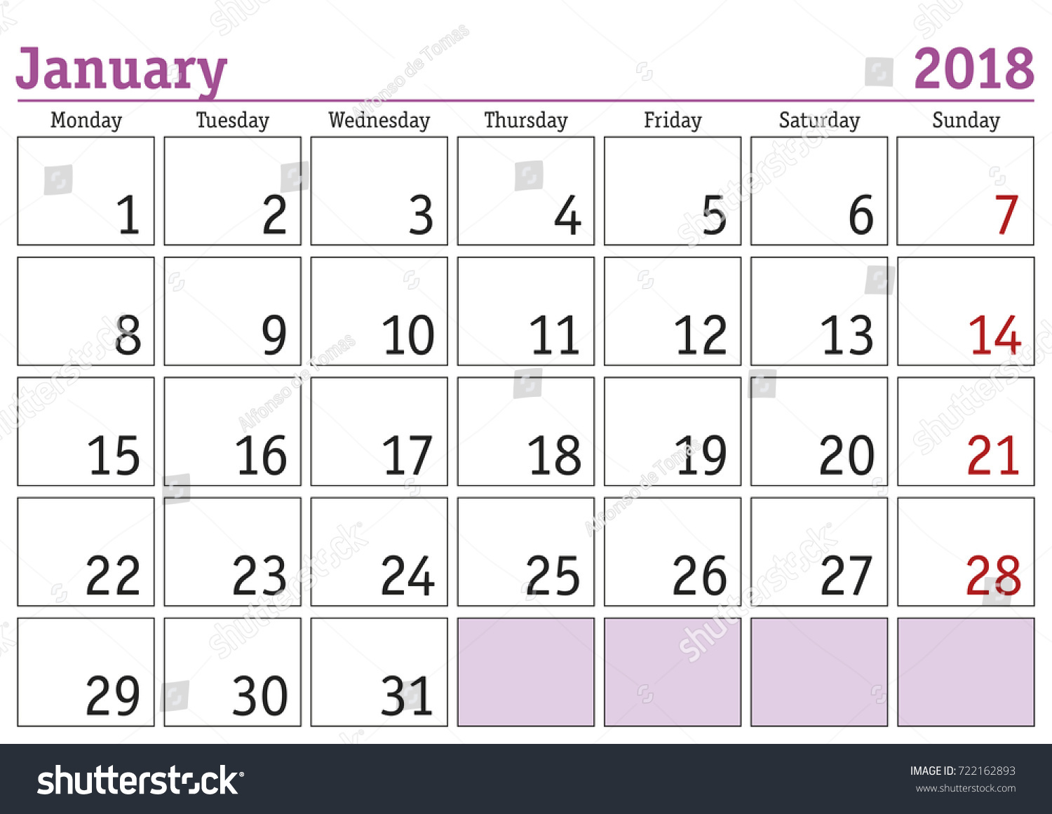 calendar 2018 simple digital calendar for january 2018 vector printable calendar monthly scheduler