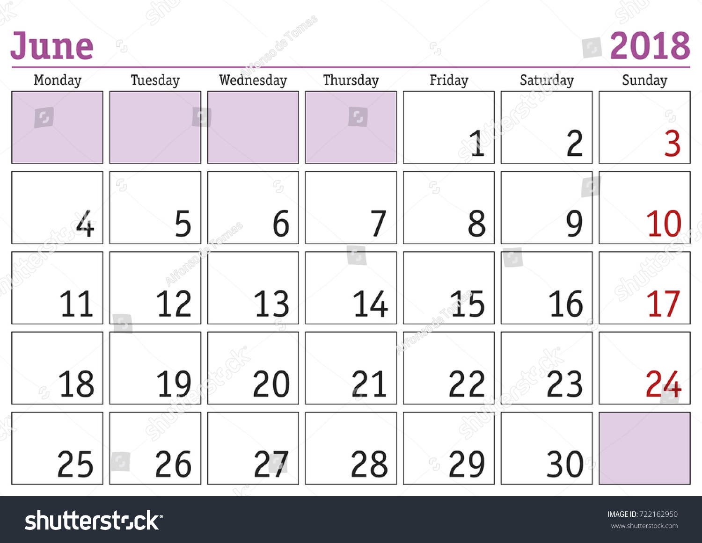 calendar 2018 simple digital calendar for june 2018 vector printable calendar monthly scheduler