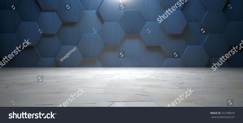 Dark Blue Wall Hexagonal Tile Marble Stock Illustration 722188918 ...