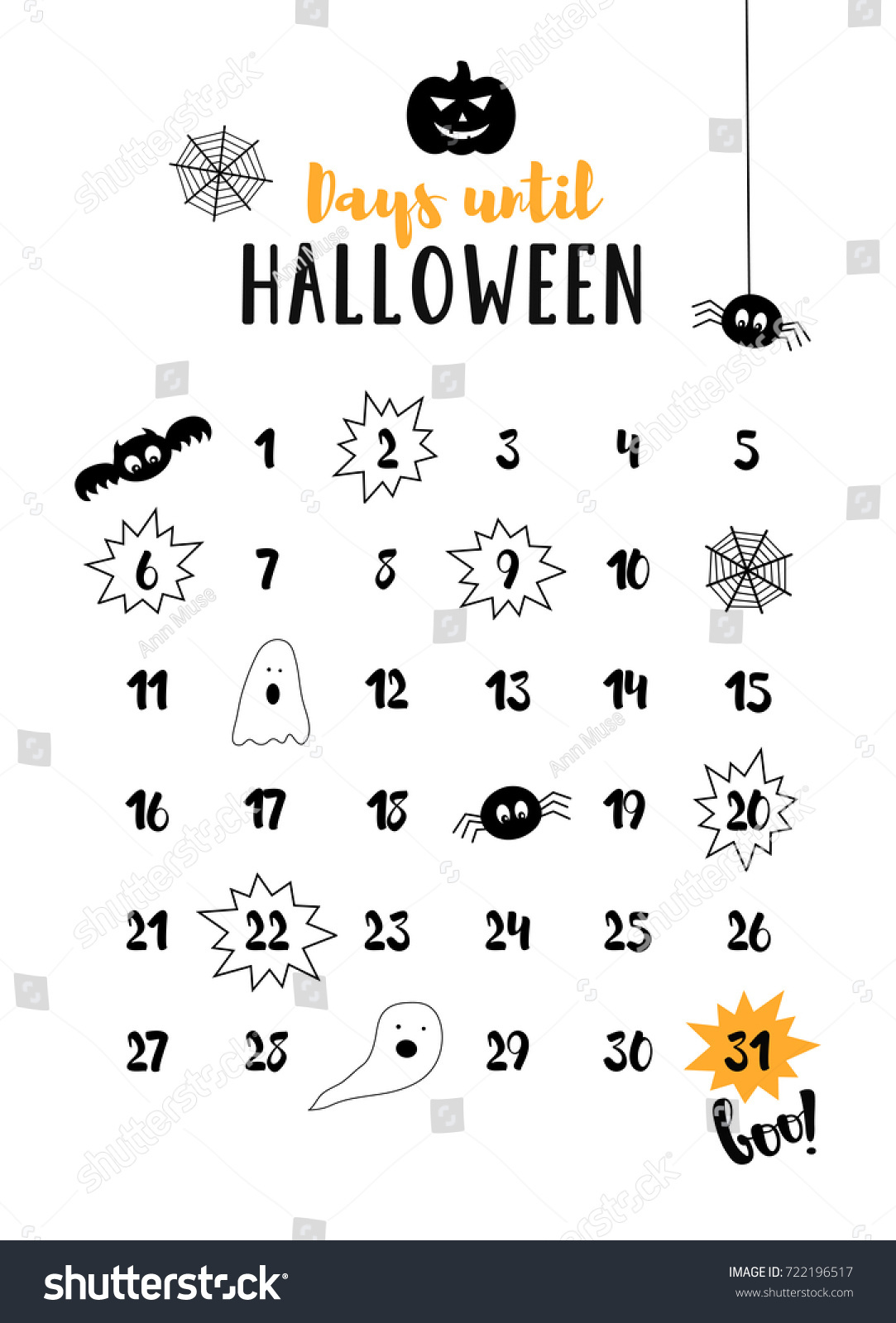 days until halloween halloween countdown october stock vector