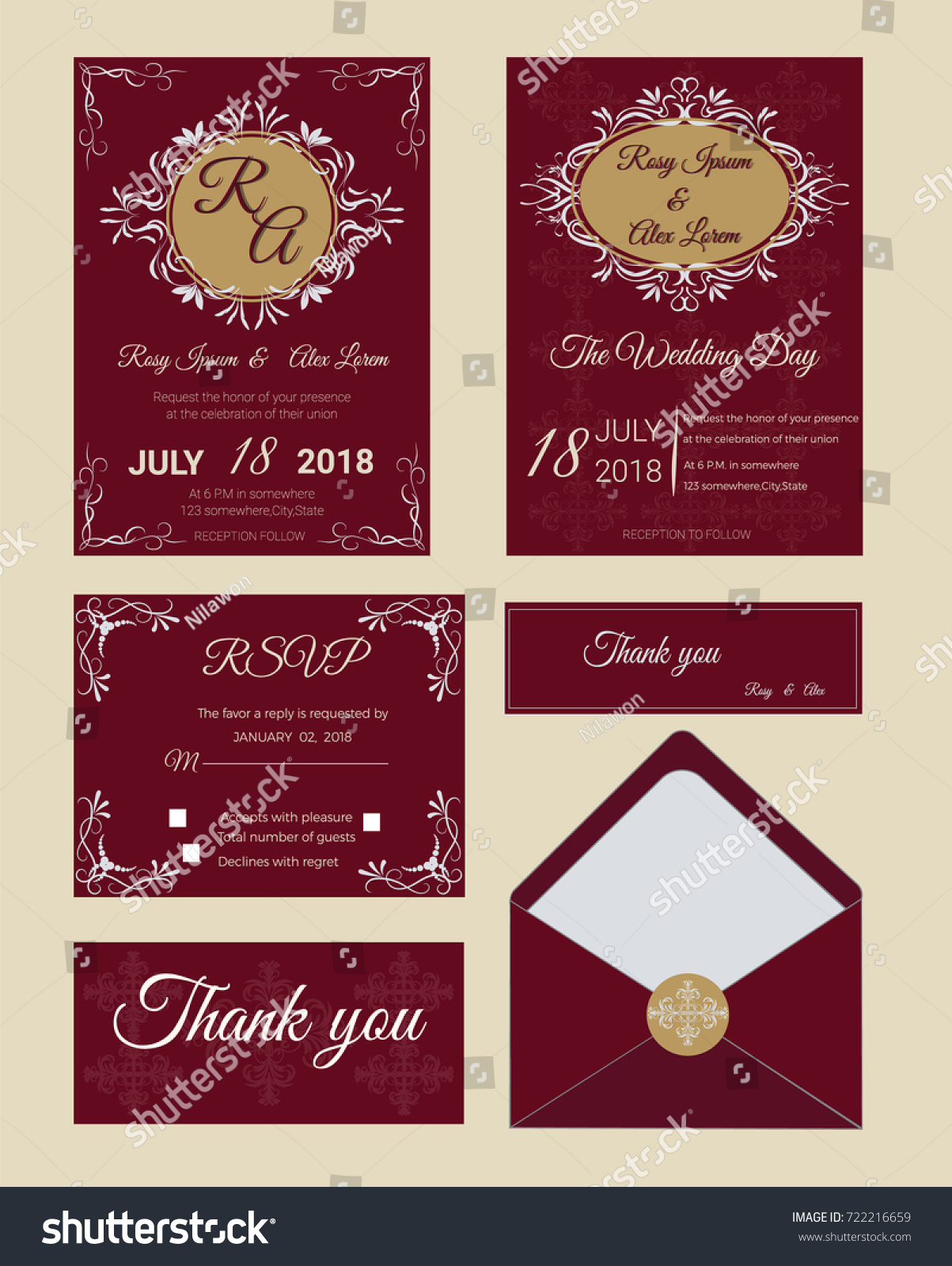 Wedding Invitation Save Date RSVP Card Stock Vector 722216659 ...