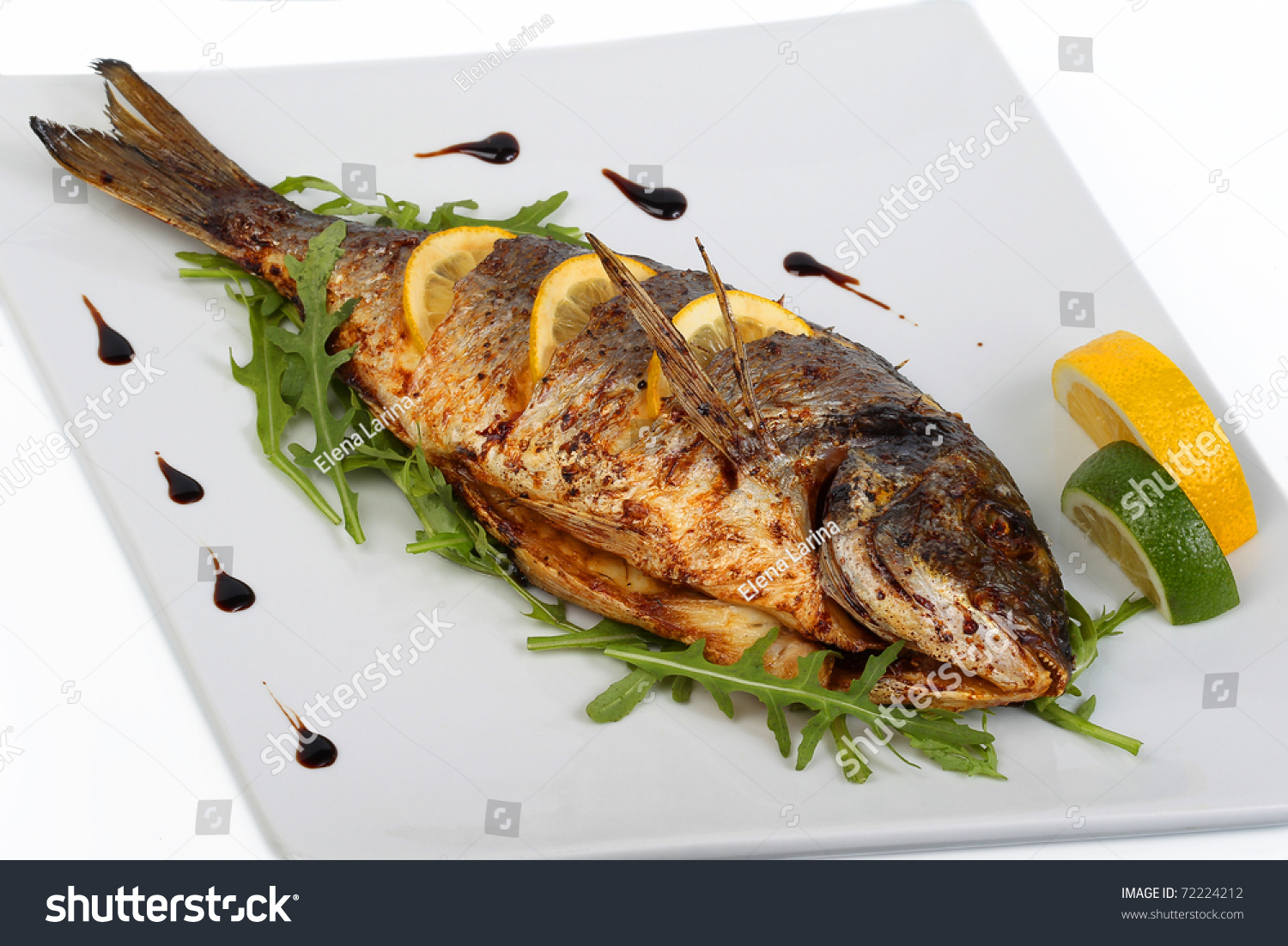 Fried fish fresh herbs lemon stock photo 72224212 for What is the best oil to fry fish in