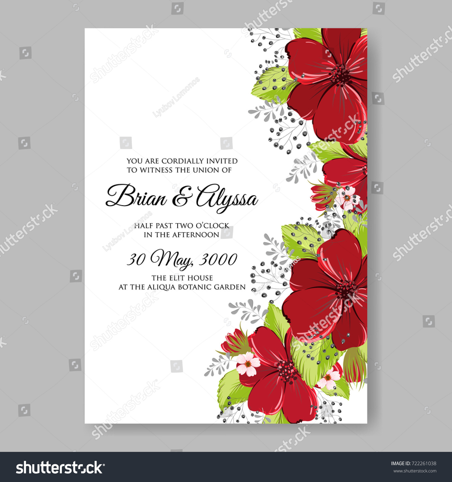 Floral Red Anemone Wedding Invitation Card Stock Vector 722261038 ...