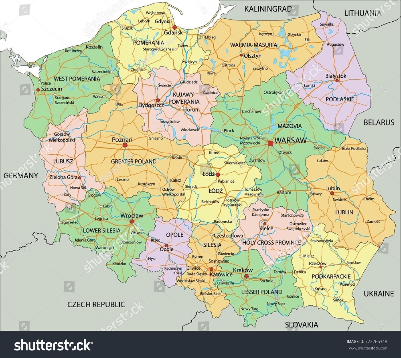 Poland Highly Detailed Editable Political Map Stock Vector - Poland political map
