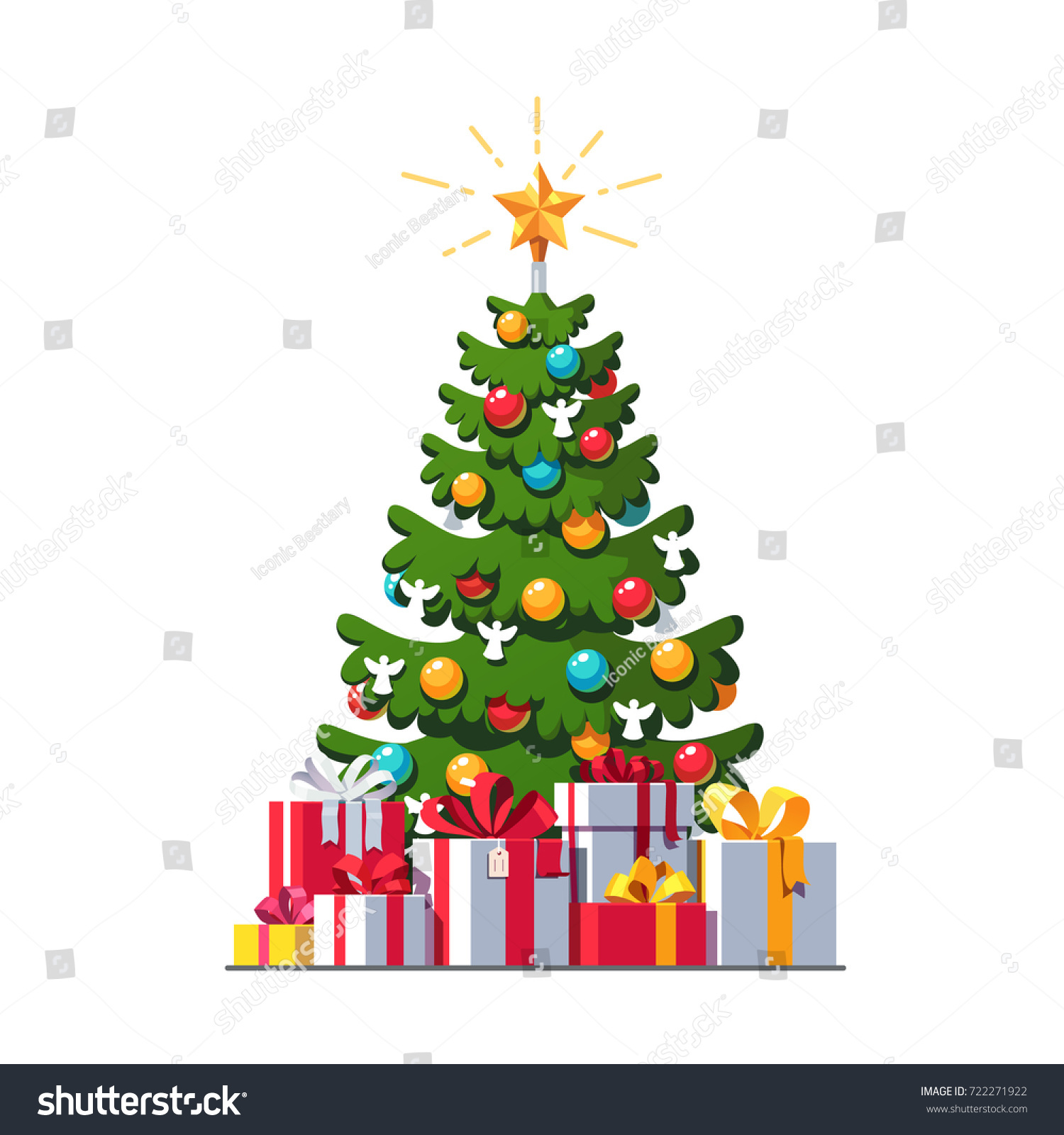 Presents Under The Christmas Tree: Big Colorful Wrapped Gift Boxes Pile Stock Vector
