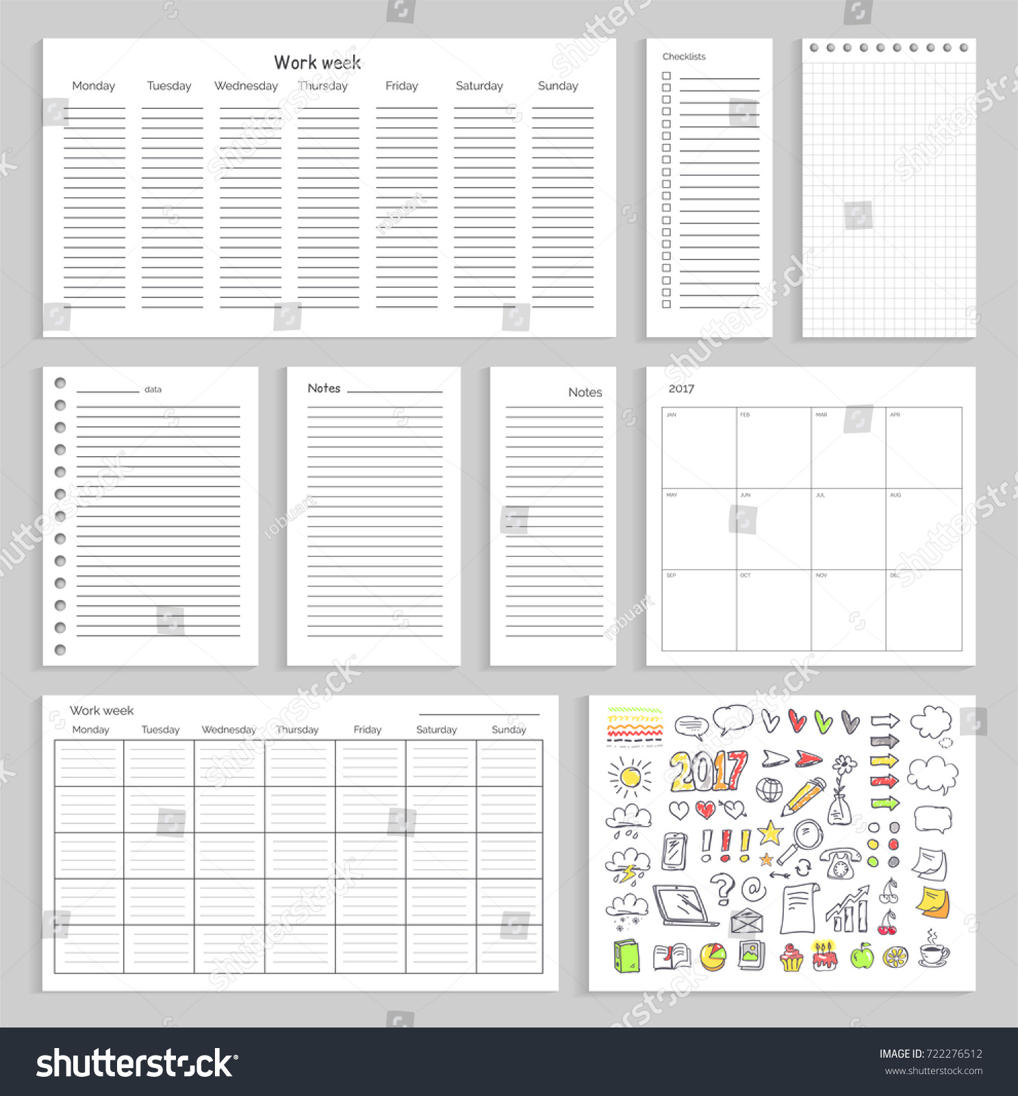 Sheets empty schedule notes charts colorful stock vector 722276512 sheets with empty schedule notes charts and colorful sketches of small graphics weather biocorpaavc
