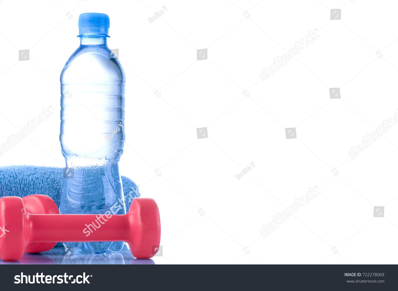 Fitnes Symbols Blue Dumbbells Bottle Water Stock Photo Royalty Free