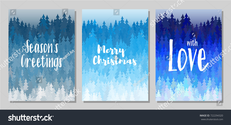 Seasons Greetings Merry Christmas Love Cards Stock Vector Hd