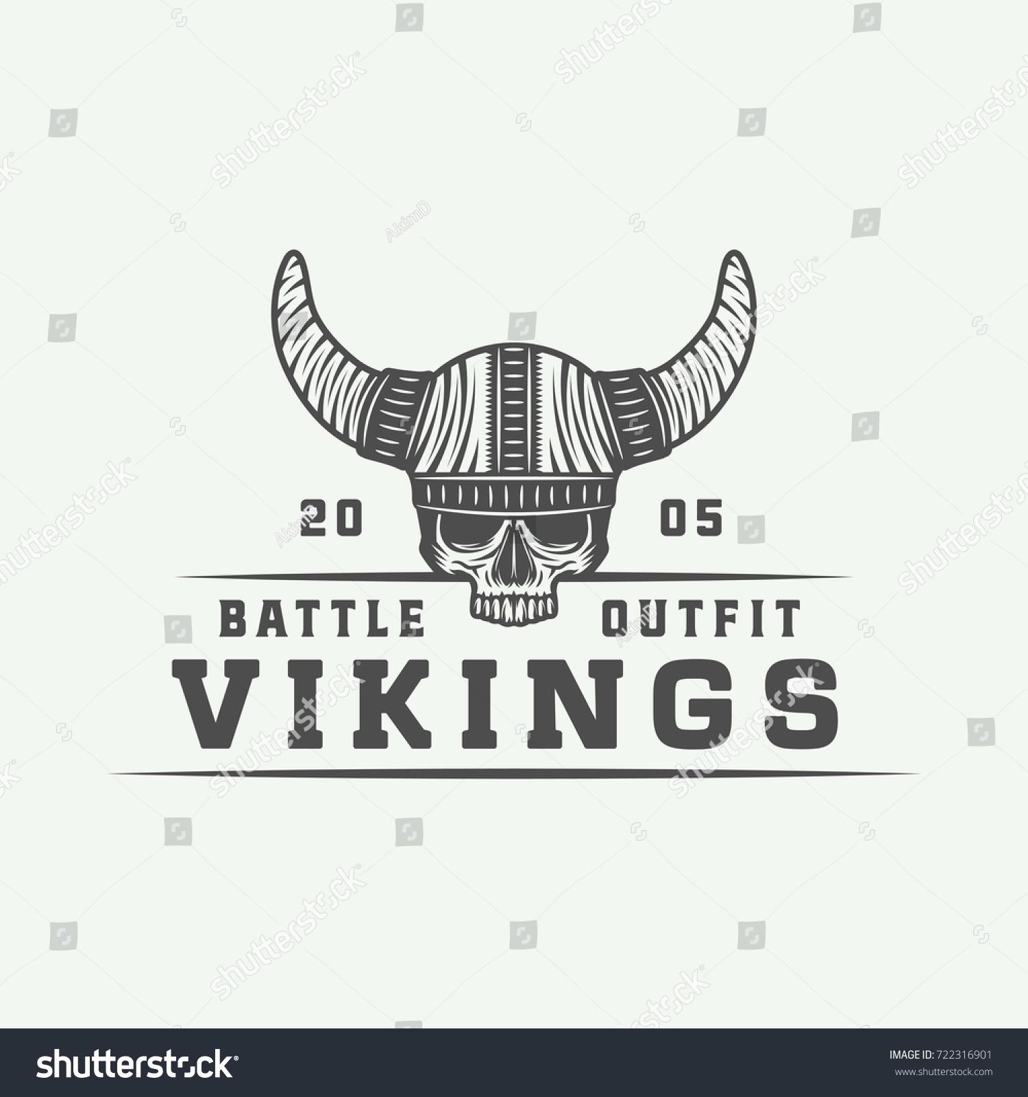 Vintage Vikings Motivational Logo Label Emblem Stock Vector Royalty