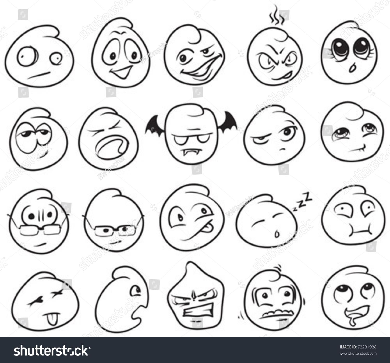 Multiple Cartoon Faces Various Expressions Attitudes Stock Vector ...