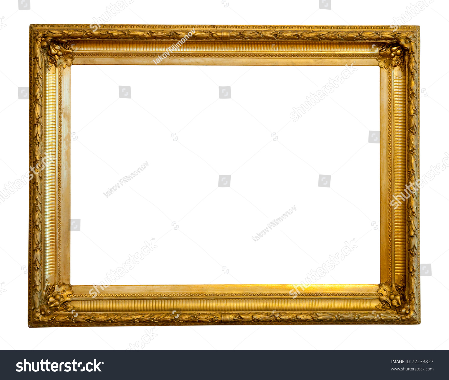 old gilded frame isolated over white background with clipping path