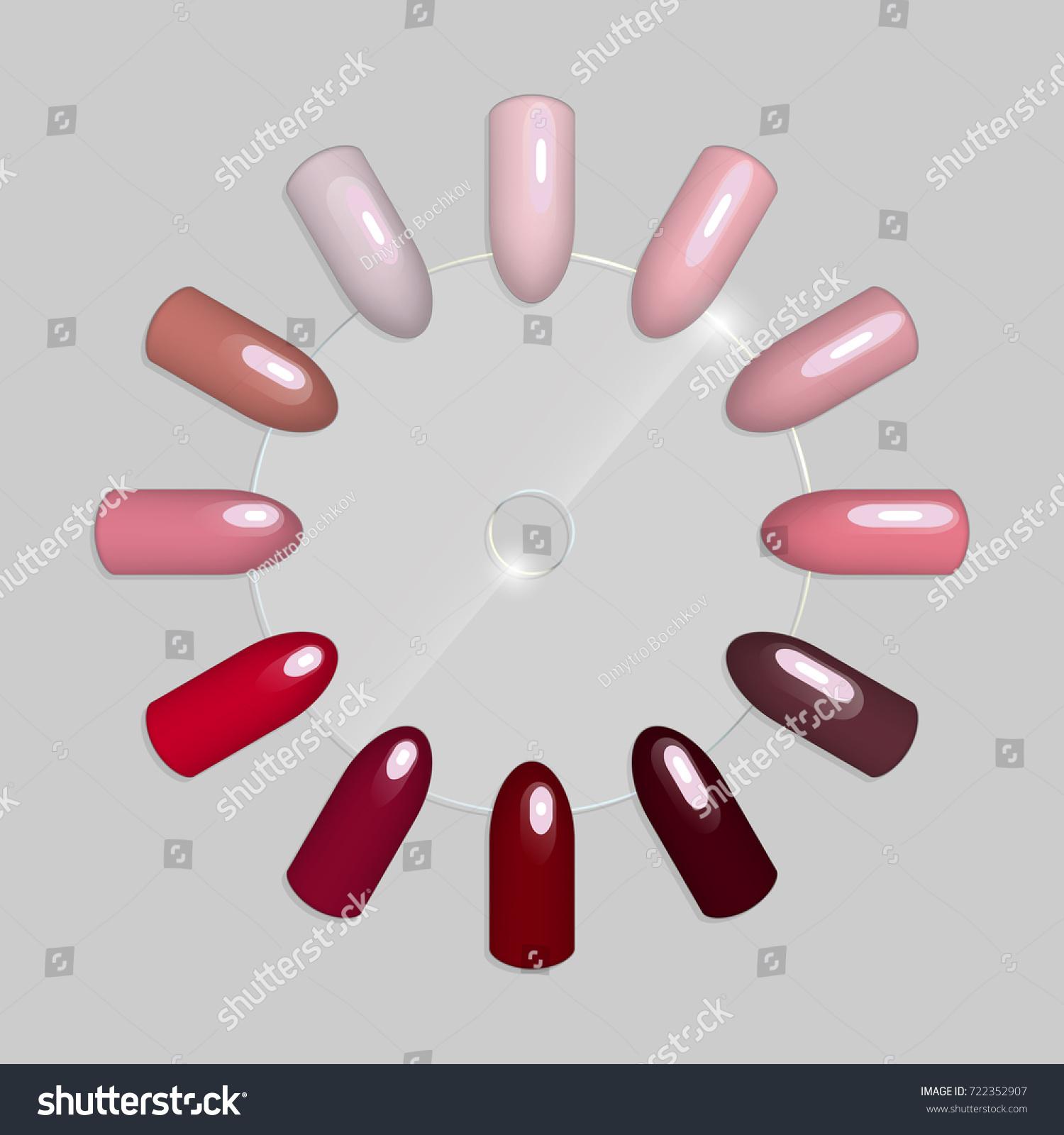Set False Nails Manicure Tips Varnish Stock Vector 722352907 ...