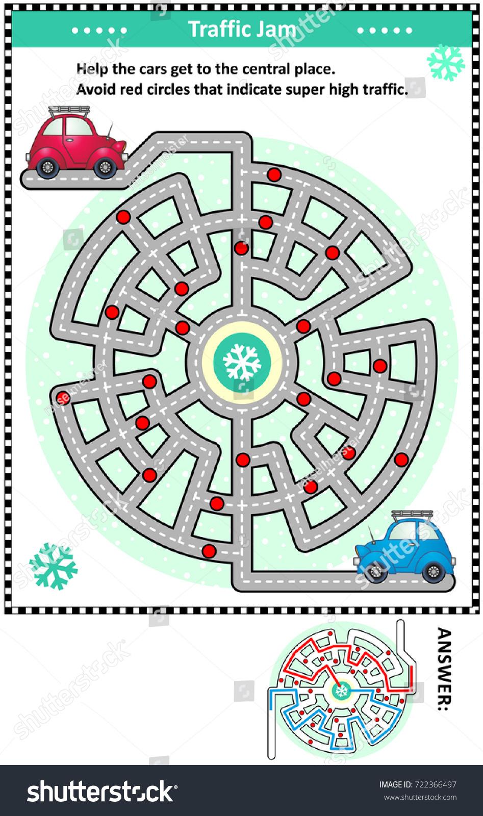 Winter Traffic Jam Road Maze Game Stock Illustration 722366497