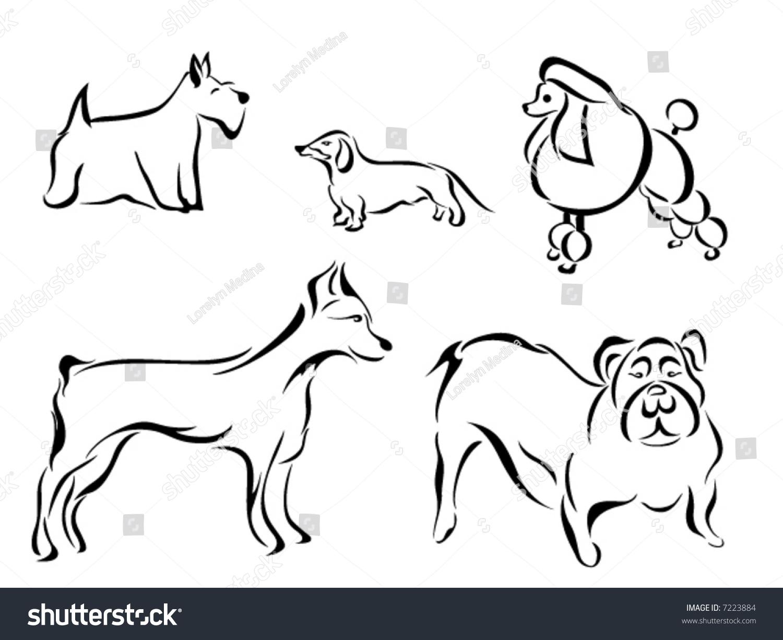 Vector Line Art Animals : Line art vector animal series dog breeds