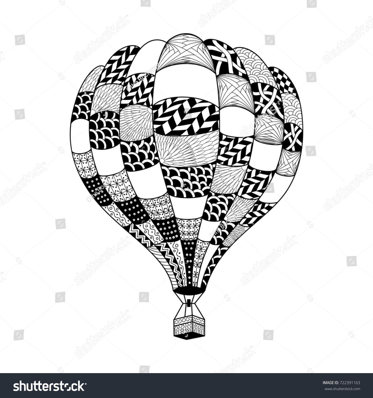 Illustration Hot Air Balloon Zentangle Style Stock Illustration ...